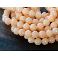 Light Peach Mountain Jade Beads, 6mm Round