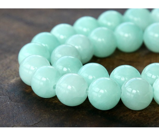 Aqua Mountain Jade Beads, 10mm Round