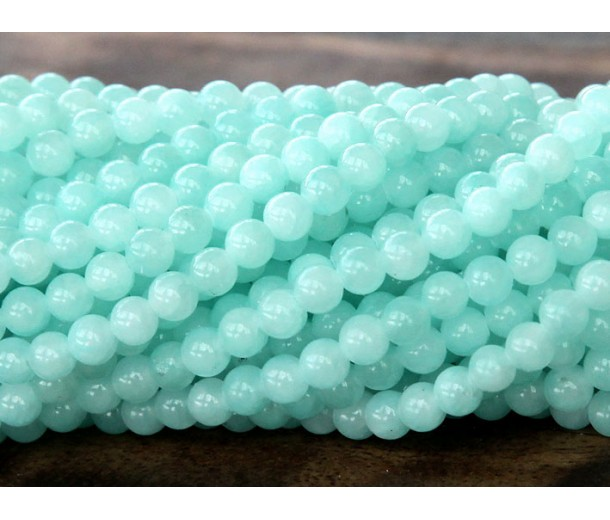 Aqua Mountain Jade Beads, 4mm Round