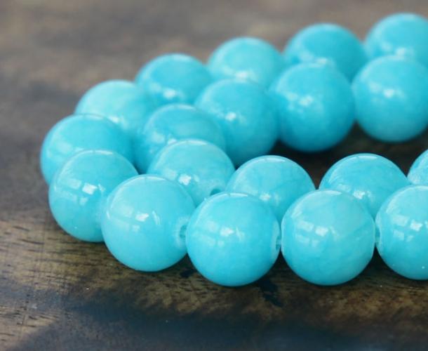 Light Blue Mountain Jade Beads 10mm Round Golden Age Beads