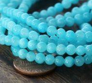 Light Blue Mountain Jade Beads, 4mm Round