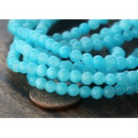 Light Blue Mountain Jade Beads, 4mm Round