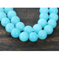 Light Blue Mountain Jade Beads, 6mm Round