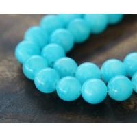 Light Blue Mountain Jade Beads, 8mm Round