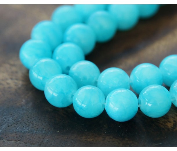 Light Blue Mountain Jade Beads, 8mm Round