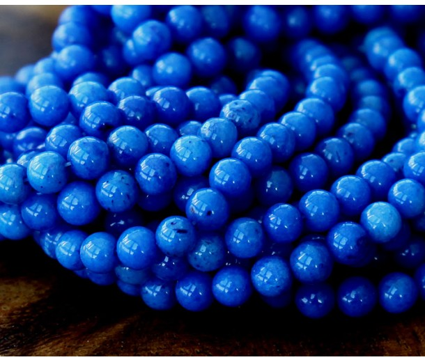 Royal Blue Mountain Jade Beads, 4mm Round
