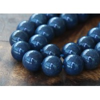 Navy Blue Mountain Jade Beads, 12mm Round