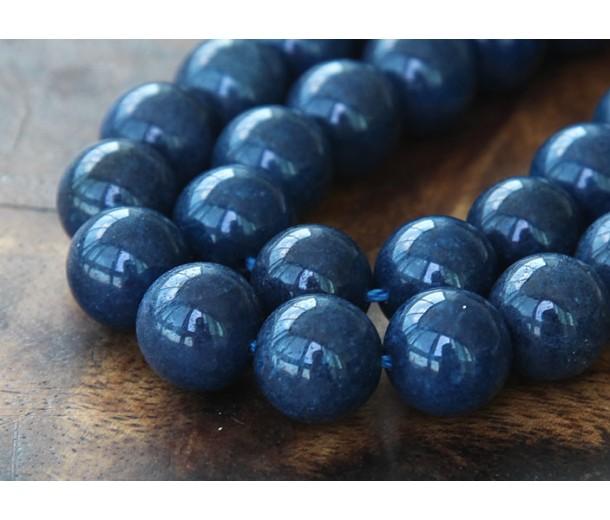 Navy Blue Mountain Jade Beads, 10mm Round
