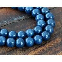 Navy Blue Mountain Jade Beads, 6mm Round