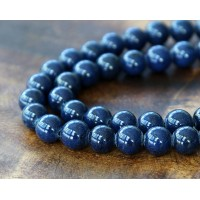Navy Blue Mountain Jade Beads, 8mm Round