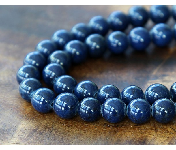 Navy Blue Mountain Jade Beads, 8mm Round