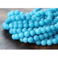 Sky Blue Mountain Jade Beads, 4mm Round