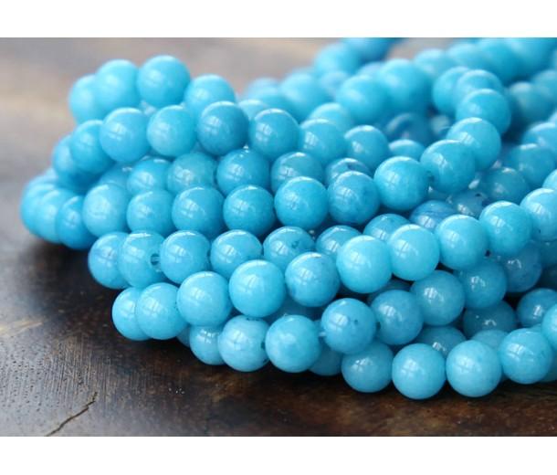 Sky Blue Mountain Jade Beads, 4mm Round
