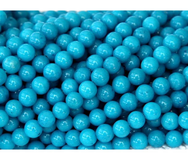 Sky Blue Mountain Jade Beads, 6mm Round