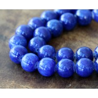 Royal Blue Mountain Jade Beads, 12mm Round