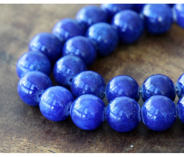 Royal Blue Mountain Jade Beads, 10mm Round