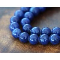 Royal Blue Mountain Jade Beads, 6mm Round