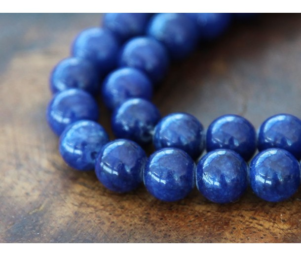 Royal Blue Mountain Jade Beads, 8mm Round