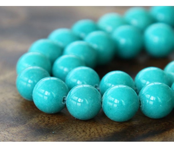 Teal Blue Mountain Jade Beads, 10mm Round