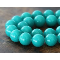 Teal Blue Mountain Jade Beads, 12mm Round