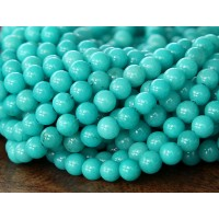 Teal Blue Mountain Jade Beads, 4mm Round