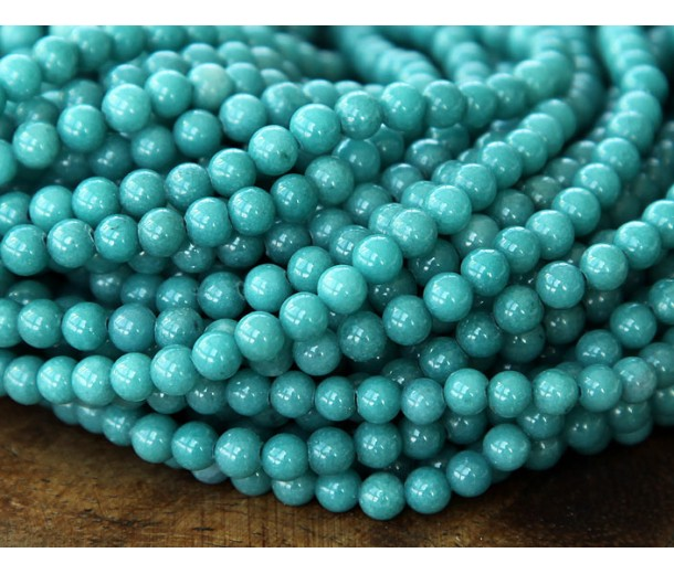 Cadet Blue Mountain Jade Beads, 4mm Round