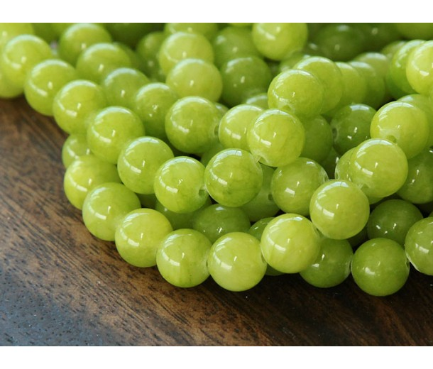 Chartreuse Mountain Jade Beads, 6mm Round