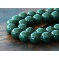 Dark Hunter Green Mountain Jade Beads, 10mm Round