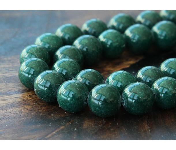 Dark Hunter Green Mountain Jade Beads, 10mm Round