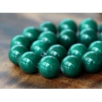 Dark Hunter Green Mountain Jade Beads, 12mm Round