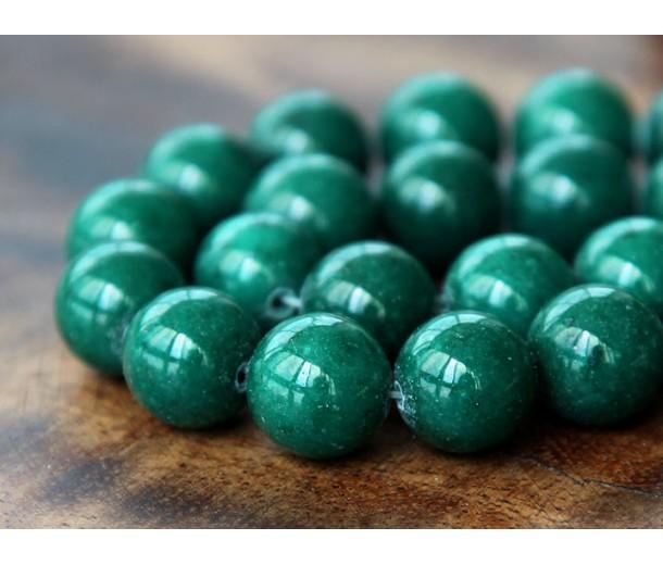 Dark Hunter Green Mountain Jade Beads, 12mm Round