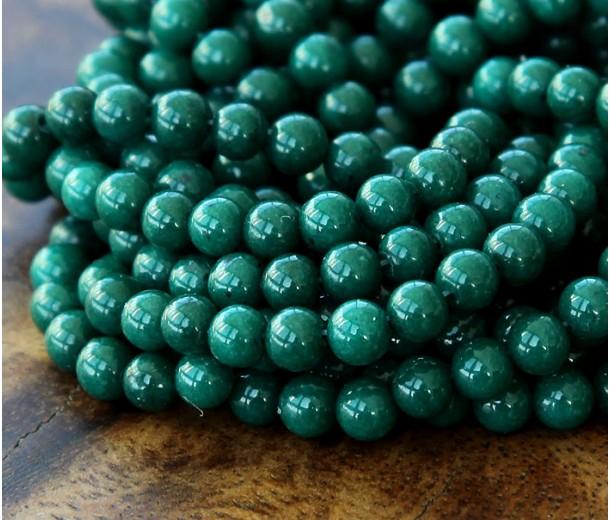 Dark Hunter Green Mountain Jade Beads, 4mm Round