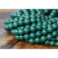 Dark Hunter Green Mountain Jade Beads, 6mm Round