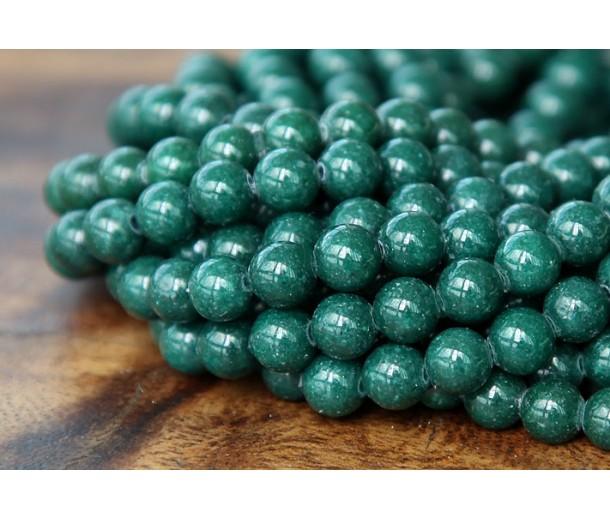 Dark Hunter Green Mountain Jade Beads, 6mm Round