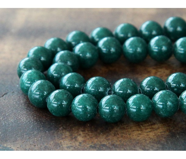 Dark Hunter Green Mountain Jade Beads, 8mm Round