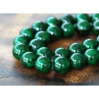 Dark Green Mountain Jade Beads, 10mm Round
