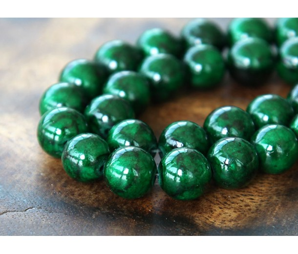 Dark Green Mountain Jade Beads, 10mm Round