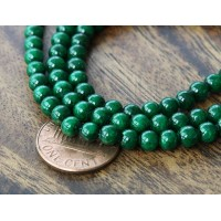 Dark Green Mountain Jade Beads, 4mm Round