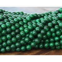 Dark Green Mountain Jade Beads, 6mm Round