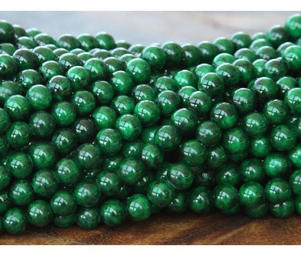 Dark Green Mountain Jade Beads, 6mm Round