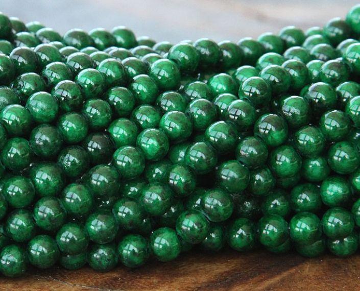 Dark Green Mountain Jade Beads 6mm Round