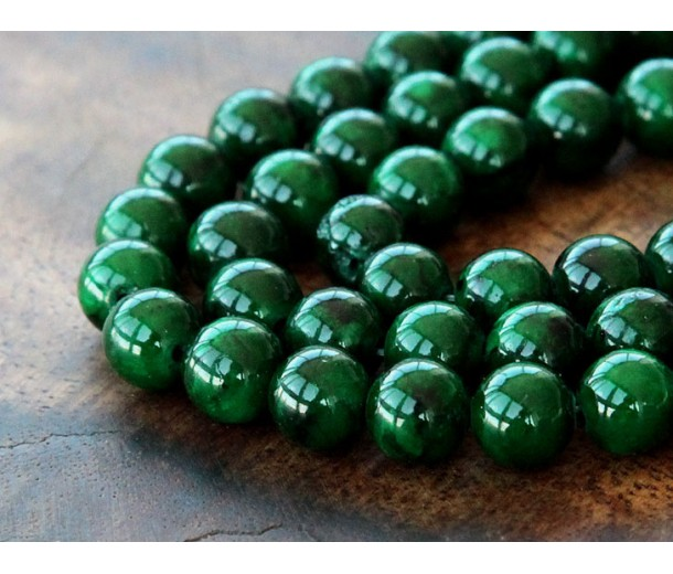 Dark Green Mountain Jade Beads, 8mm Round