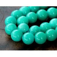 Sea Green Mountain Jade Beads, 12mm Round
