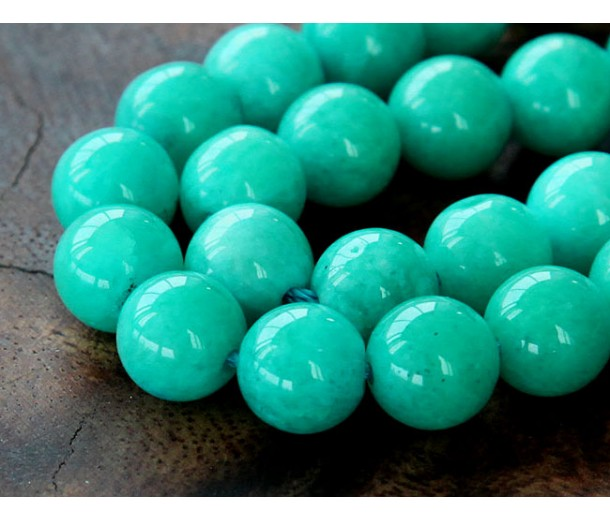 Sea Green Mountain Jade Beads, 10mm Round