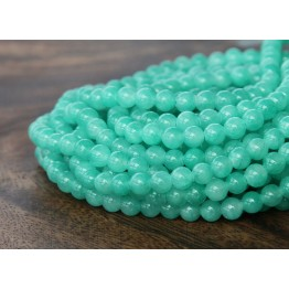Sea Green Mountain Jade Beads, 4mm Round