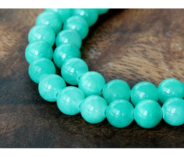 Sea Green Mountain Jade Beads, 6mm Round