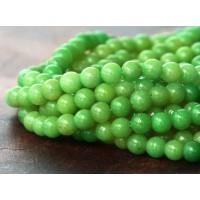 Apple Green Mountain Jade Beads, 4mm Round