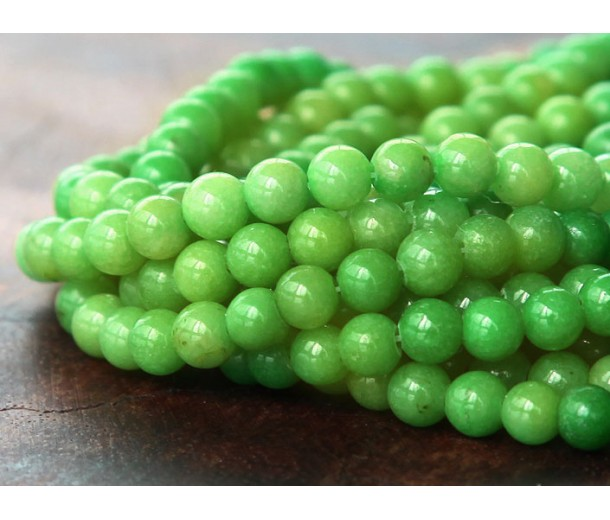 Apple Green Mountain Jade Beads, 4mm Round