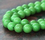 Apple Green Mountain Jade Beads, 6mm Round