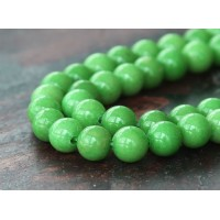 Apple Green Mountain Jade Beads, 6mm Round